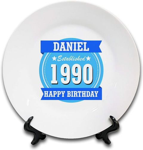 "8"" 'Personalised Happy Birthday Established.' Novelty Ceramic Plate & Stand - Blue"